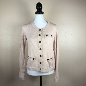 Cabi Pink Button Up Pocket Cardigan Sweater Size M